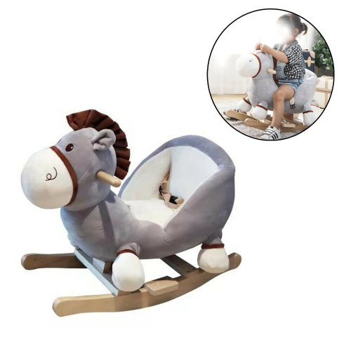 Animal Baby Rocking Horse Children Toy Seat Donkey with Ride Wooden
