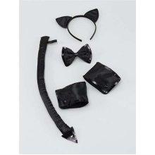 Black Ladies Formal Cat Set -  cat set fancy dress formal halloween deluxe adult black ears tail