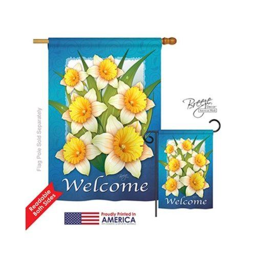 Breeze Decor 04070 Floral Daffodils 2-Sided Vertical Impression House Flag - 28 x 40 in.