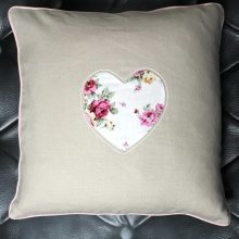 Beige Vintage Heart Cushion