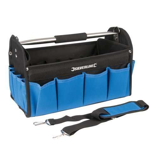 Silverline Tool Bag Open Tote 400 x 200 x 255mm - Heavy Duty Base 748091 Hard -  tool bag x silverline heavy duty base 748091 hard tote 200 400 255mm