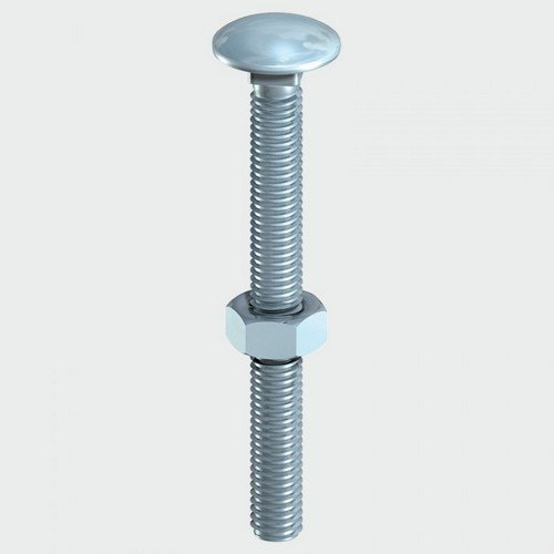 TIMco 0670CB Carriage Bolt and Hex Nut BZP 6.0 x 70mm Box of 100