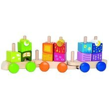 Hape Fantasia Building Blocks Toddler Push and Pull Train Set