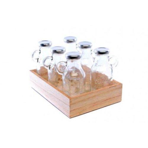 Set of 6 Milk Bottles with Handle