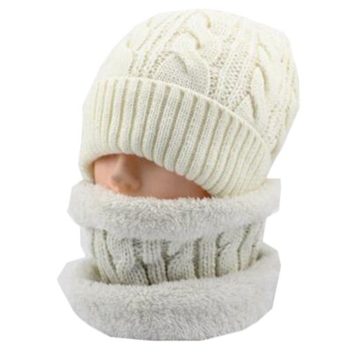 Middle-aged Men's White Winter Cycling Keep Warm Thick Hat Scarf Set