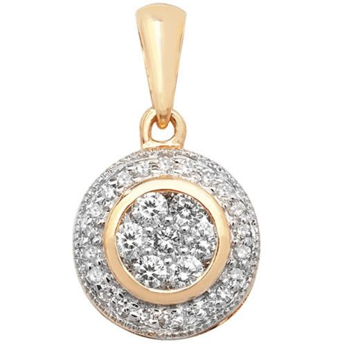 9ct Gold 0.25ct Round Set Diamond Pendant On A Belcher Necklace