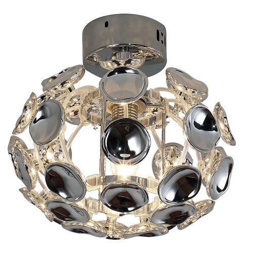 HOMCOM Modern Pendant Lamp Chrome Ceiling Light Acrylic Crystal Effect Shade E14