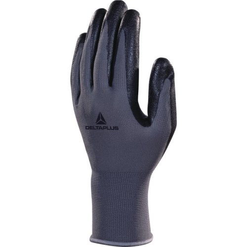 Delta Plus VE722 Polyester Safety Gloves with Nitrile Foam Palm Black/Grey (Various Sizes)