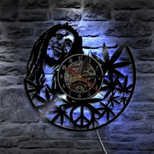 Room Art Bob Marley 3D Antique Style Vinyl Led Wall Clock