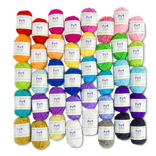 Basic Miniature Yarn Pack – 40 Yarn Bonbon Skeins 100% Acrylic - Total of 875 yards (800 m) Colourful Yarn - Perfect for any Crochet and Knitting...