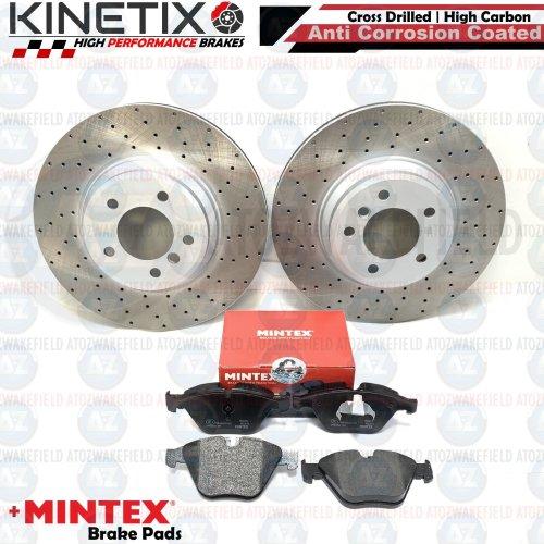 FOR BMW 335d E93 FRONT DRILLED KINETIX PERFORMANCE BRAKE DISCS MINTEX PADS 348mm