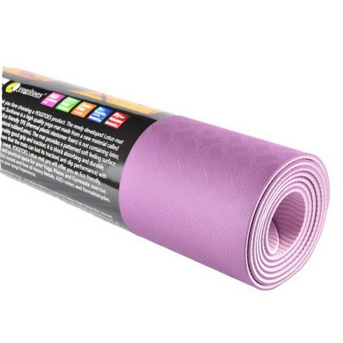 Yoga Mat 3.5mm TPE Exercise Mat with Mesh Bag (Fuchsia)