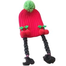 [Red Cherry] Cute Baby Girl Knitted Hat Kids Cap with Braids