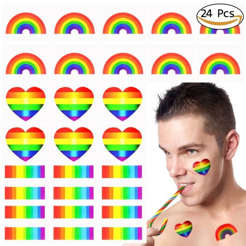 Vamei 24pcs Gay Pride Rainbow Stickers Temporary Tattoo Body Paint 3 Shapes Tattoo Set for Gay Pride celebrations (A)