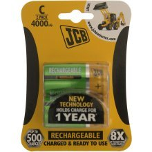 2 x JCB Pre-Charged C Batteries 4000MAH Rechargeable High Capacity Ready To Use