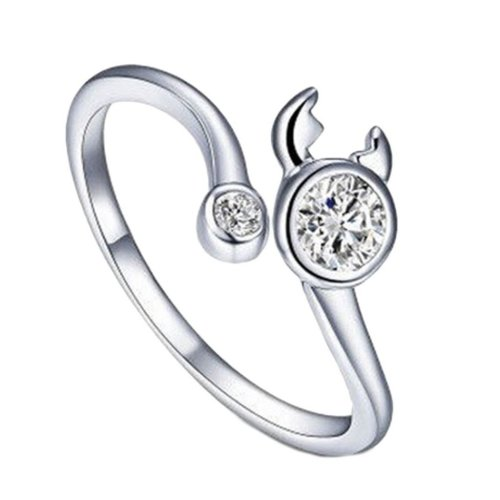 Silver Plated Star Sign Cancer Ring Size P 1/2 (UK) Adjustable Open Zodiac Rhinestone Thumb Ladies Wrap