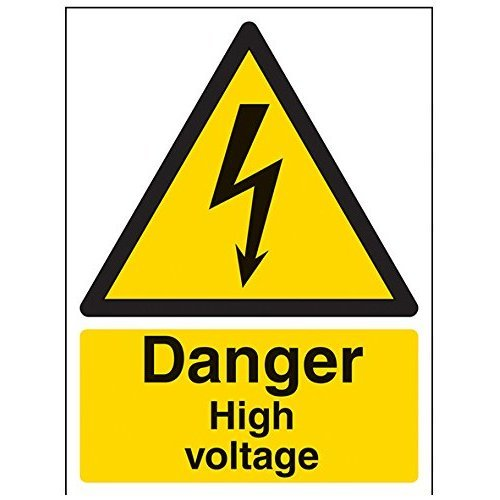 "VSafety Signs 68003AN-S""Danger High Voltage"" Warning Electrical Sign, Self Adhesive, Portrait, 150 mm x 200 mm, Black/Yellow"