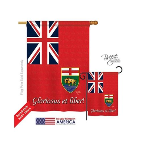 Breeze Decor 08186 Canada Provinces Manitoba 2-Sided Vertical Impression House Flag - 28 x 40 in.