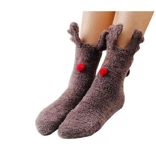 Cute Fuzzy Socks Slipper Socks Non-slip Comfortable [A]