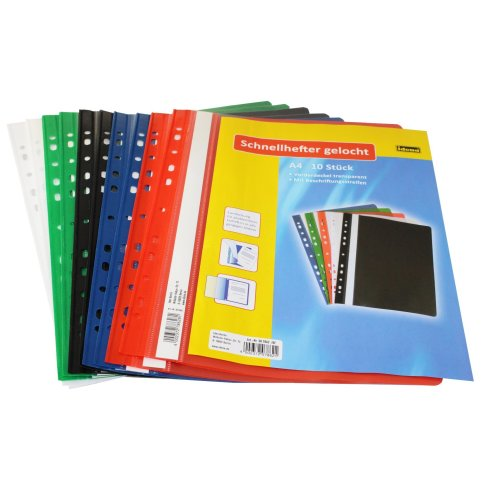 Idena 307862 Binders A4 Plastic with Punched Spines Pack of 10 Blue/Green / Red/White / Black