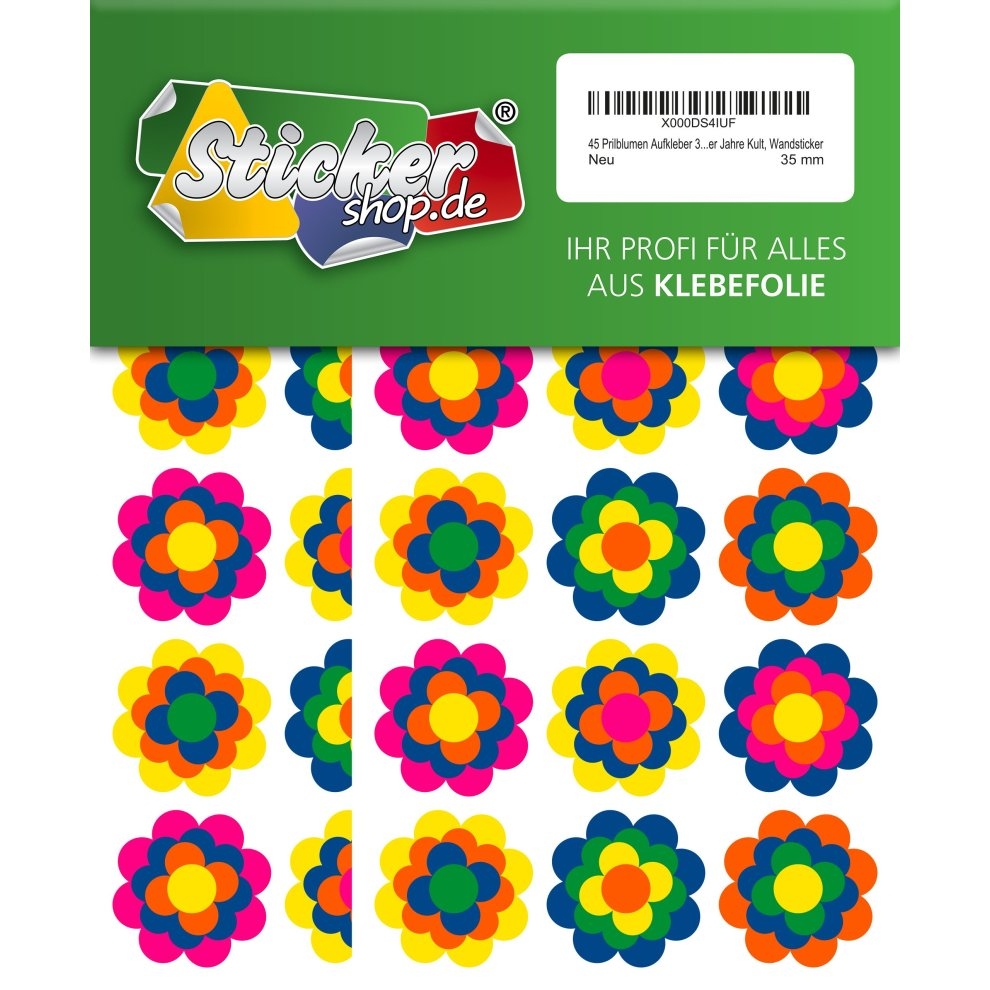 45 prilblumen 35 mm sticker retro 70s design wall sticker on onbuy