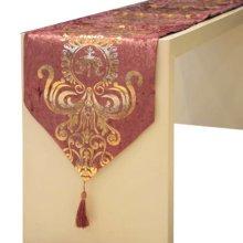 Fashionable Velvet Gilding Minimalist Style Decor Table Runner(12*71inch),Purple