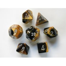 Chessex Gemini Polydice Set - Black-Gold w/silver