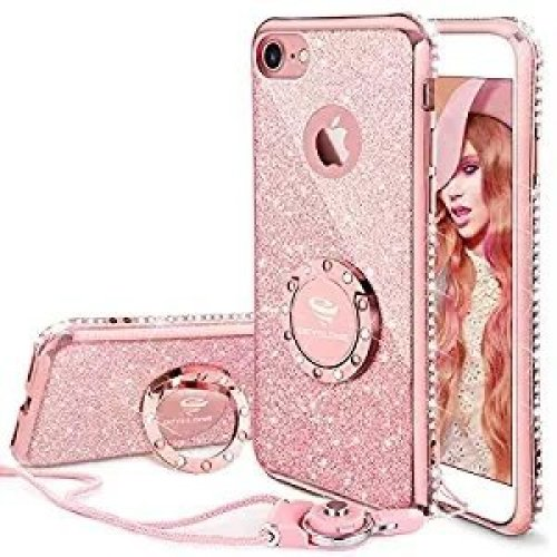 buy online 01388 0d01d iPhone 7 Case, iPhone 8 Case, Glitter Cute Phone Case with Lanyard Bling  Diamond Rhinestone with Ring Kickstand Clear Soft Protective Sparkly...