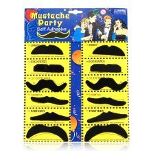 Trixes 12pc Self-Adhesive Fake Moustaches | Stick-On Moustache Set