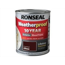 Ronseal 10 Year Weatherproof Exterior Wood Paint 750ml - GLOSS Chesnut