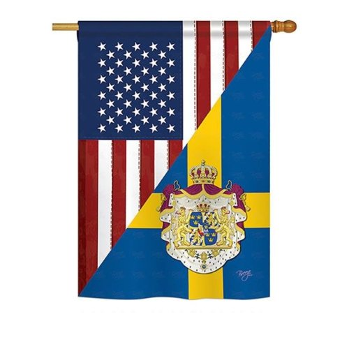 Breeze Decor BD-FS-H-108385-IP-BO-DS02-US US Sweden Friendship Flags of the World Everyday Impressions Decorative Vertical House Flag