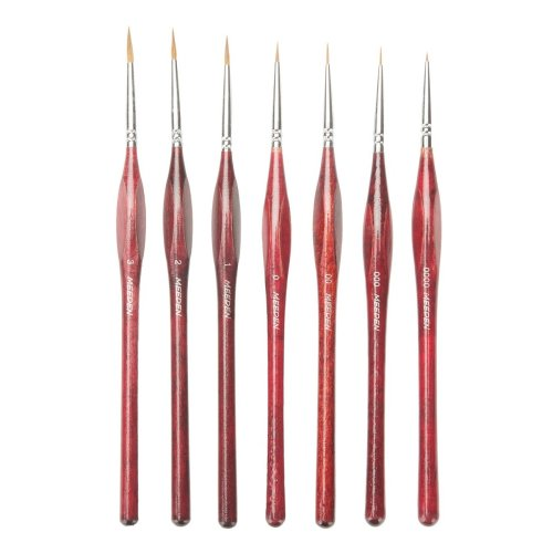 MEEDEN Professional Sable Hair Detail Paint Brush Set - 7 Miniature Art Brushes for Fine Detailing & Art Painting - Acrylic, Watercolor, Oil -...