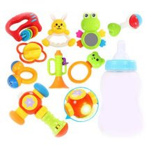 Teeth Biting Educational Toys Teether Hand Bell Toys Newborn Gift Set for Babies, 8 Pcs+Hammer