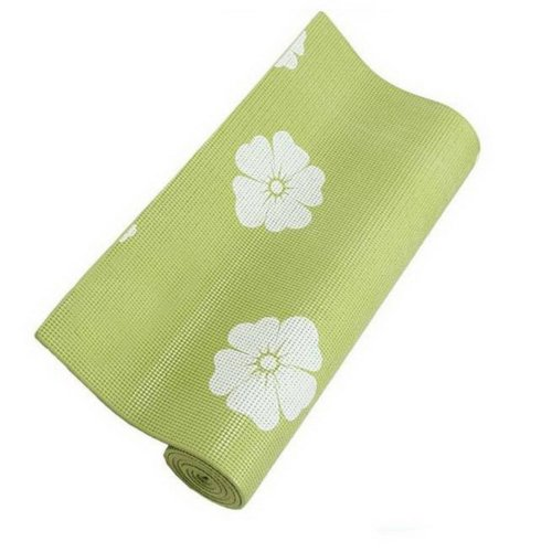 Rubber Yoga Mat Eco Print Yoga Exercise Mat 6mm (Green)+ Mesh Bag