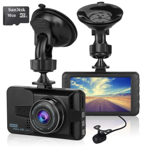 ULU Car Dash Cam 170°Wide Angle Front and Rear Dual Lens