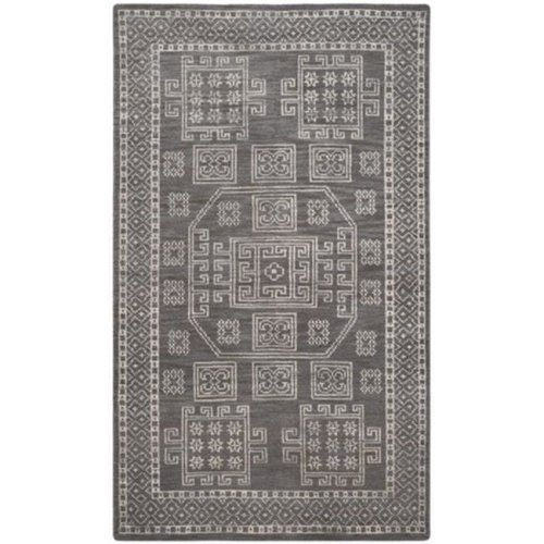 Safavieh KNY635A-3 Kenya Hand Knotted Small Rectangle Rug, Grey, 3 x 5 ft.