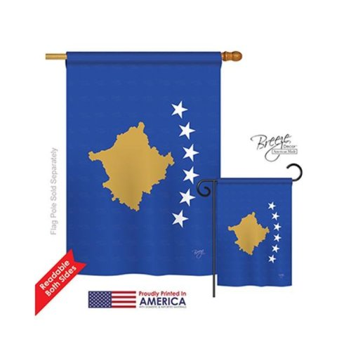Kosovo 2-Sided Vertical Impression House Flag - 28 x 40 in.
