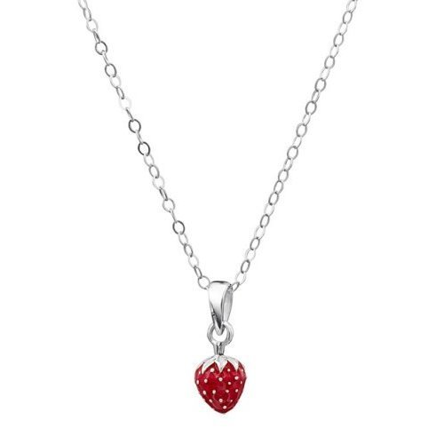 Jo For Girls Sterling Silver & Red Enamel Strawberry Necklace