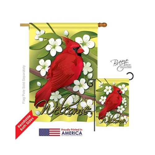 Breeze Decor 05032 Birds Cardinal 2-Sided Vertical Impression House Flag - 28 x 40 in.