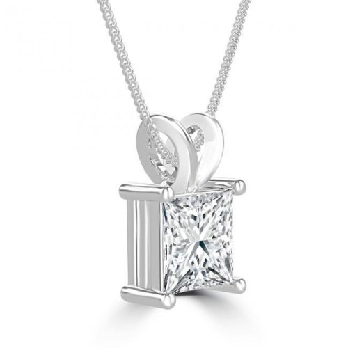 2.75 Carat Solitaire Diamond Pendant Necklace With Chain White Gold