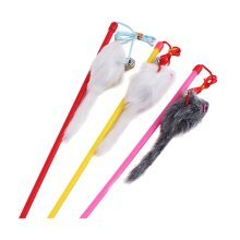 4 Sets Of Cat Toy Fake Artificial Fur Ball Mouse Cat Stick Lever,Long-Tailed Rat