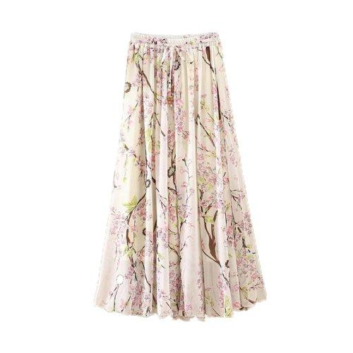 Plum Flower Pattern Summer Chiffon Skirt Large Swing Skirts Fairy Skirt