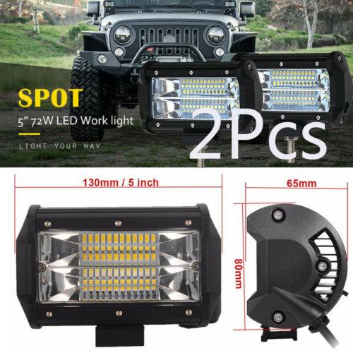 2¡ÁCar Truck LED Work Spot Light Flood Driving Bright Bulb SUV 72W 12V 24V 5 i