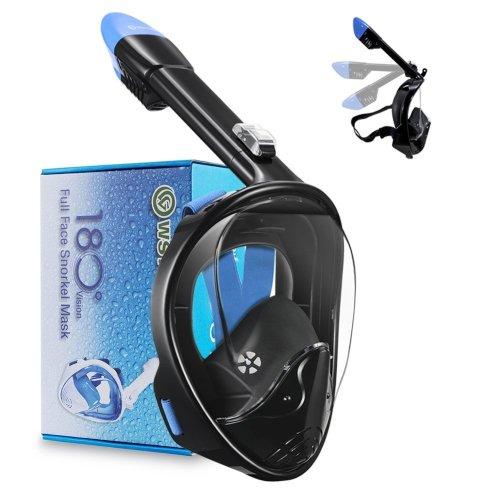 WSTOO Full Face Snorkeling Mask,180° Panoramic View Snorkeling Mask-Anti-fog Anti-leak For Adults & Kids …
