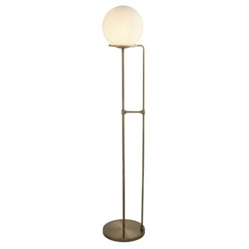 1 Light Floor Lamp Antique Brass Opal White Glass Shade