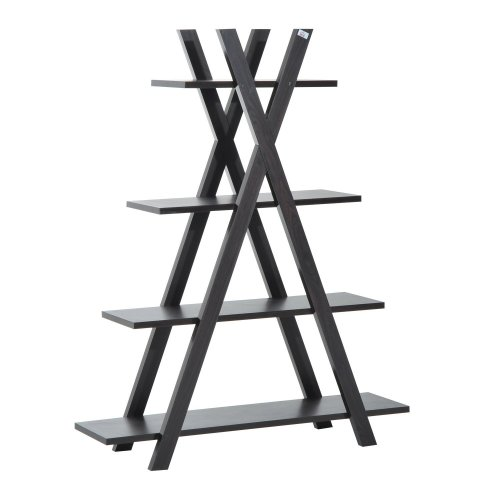 Homcom 4-tier Ladder Shelf Display Storage Rack Living Room Wooden (Black)