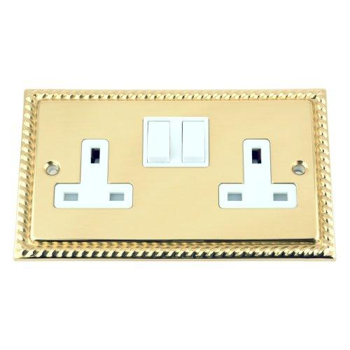 A5 Socket 2 Gang - Polished Brass Georgian - White Insert Plastic Switch - 13A Double Wall Plug Socket