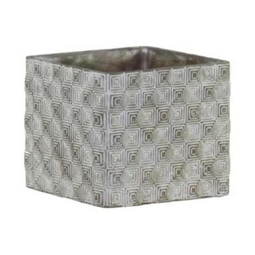 Cement Short Square Pot with Embossed Rectangle Design Body, Gray - Large