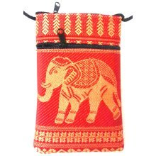 Red cotton mobile phone pouch with neck strap & two zip pockets