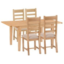 Canterbury Light Oak 1.2m Butterfly Extending Table & 4 Fabric Seat Chairs